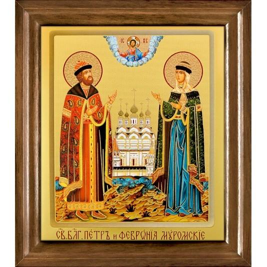 Икона Св. Петр и Февронья Муромские одиночная рамка ковчег