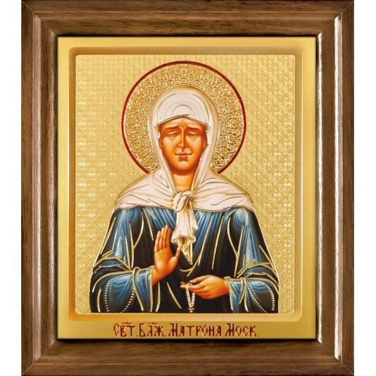 Икона Св. Матрона Блаженная одиночная рамка ковчег