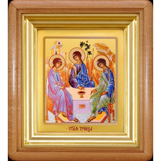 Икона Святая Троица ковчег малое стекло в светлой рамке