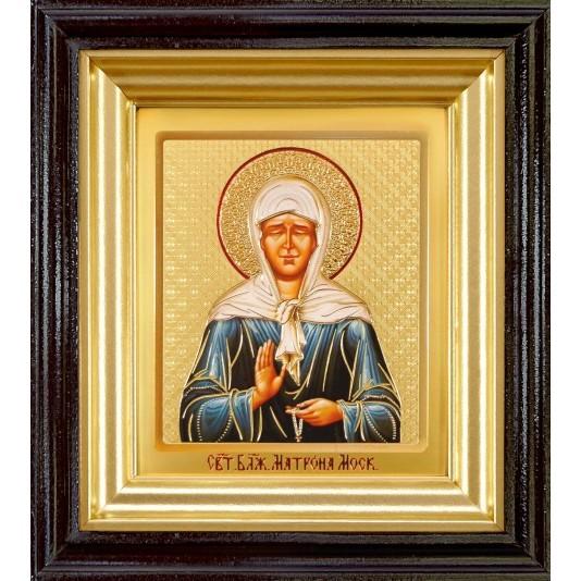 Икона Святая Матрона Блаженная ковчег малое стекло в темной рамке
