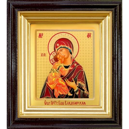 Икона Владимирская Б. М. ковчег малое стекло в темной рамке