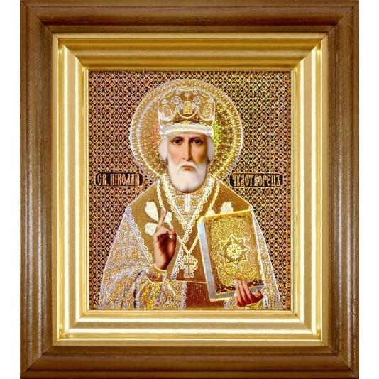Икона Святой Николай Чудотворец голография малое стекло