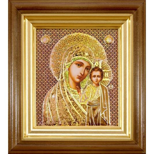 Икона Казанская Б. М. в светлой рамке голография малое стекло