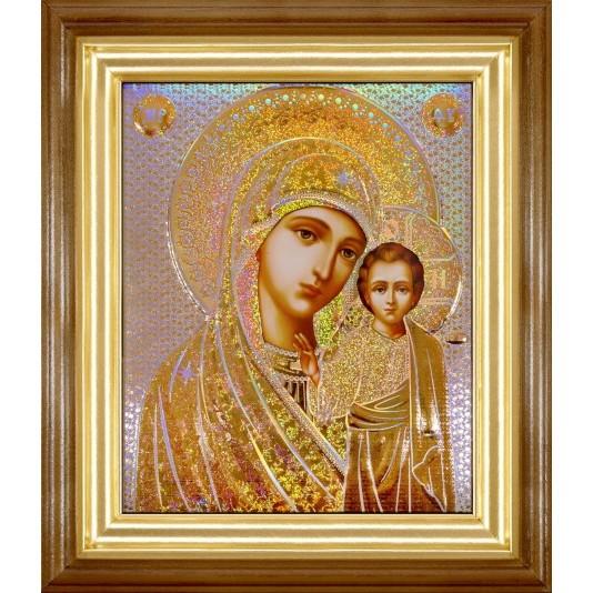 Икона Казанская Б. М. в светлой рамке голография