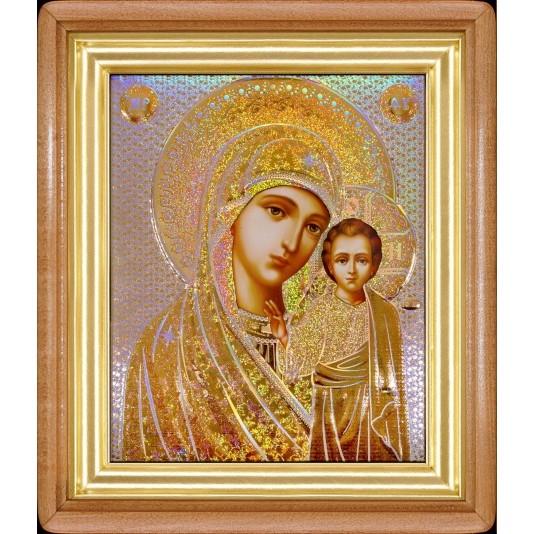 Икона Казанская Б. М. в светлой рамке