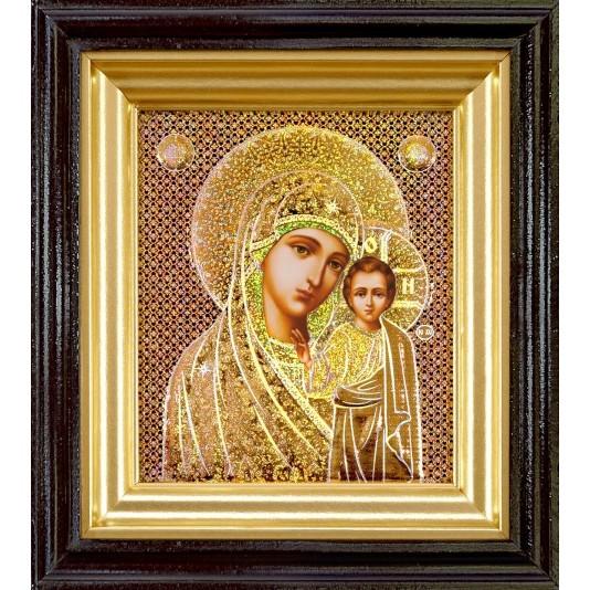 Икона Казанская Б. М. в светлой рамке голография малое