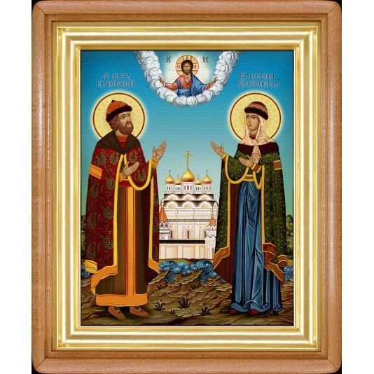Икона Петр и Феврония холст большой