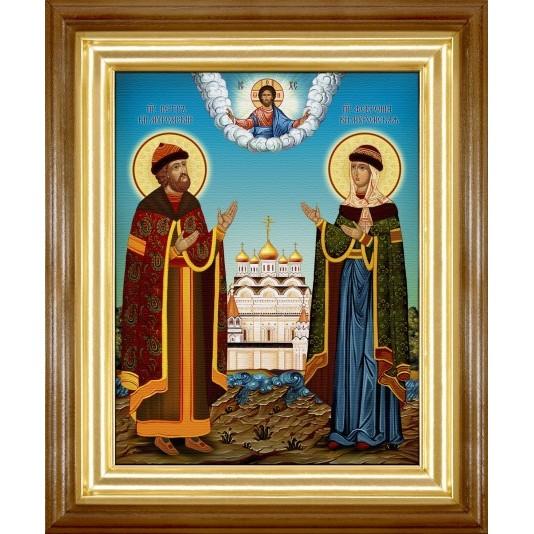 Икона Петр и Феврония холст
