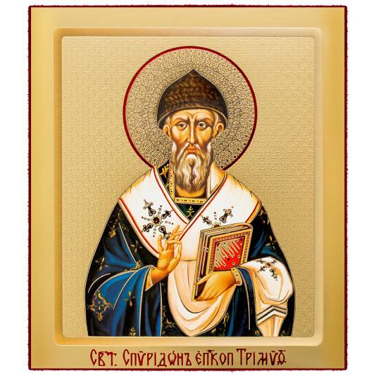Икона на доске Спиридон Тримифунтский малая