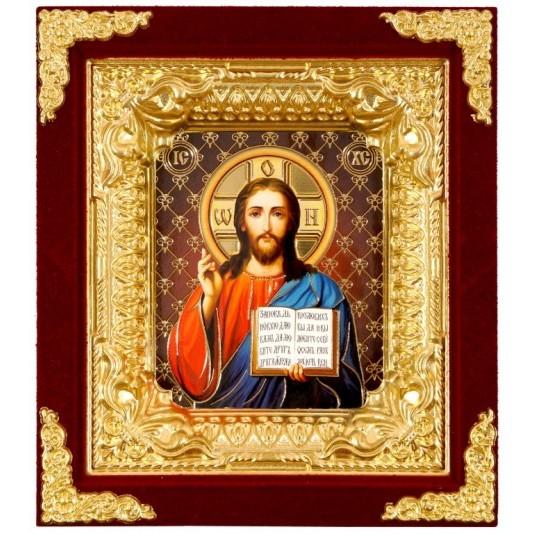 Икона Спаситель бархат