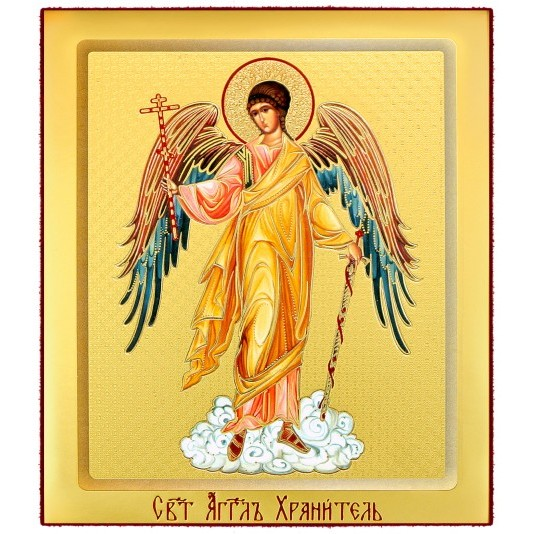 Икона на доске Ангел Хранитель ростовая